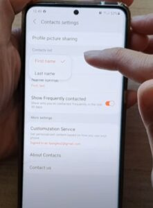 How To Sort Contacts By First Name or Last Name Galaxy S21 Step 5